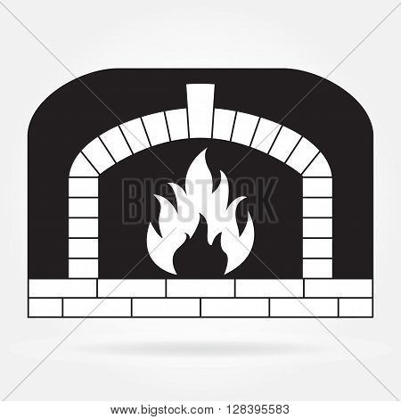 Fireplace or Firewood oven icon isolated on white background. Vector illustration.