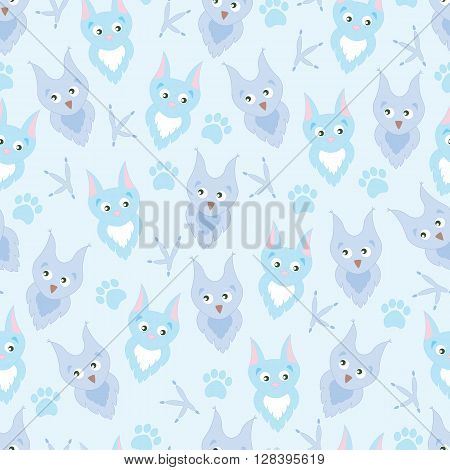 Background cute cartoon owl and cat. Background adorable owl and cat, paw prints and claws. Background for children, baby. Blue Background for boy.