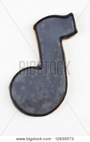 Sugar cookie in the shape of a music note.
