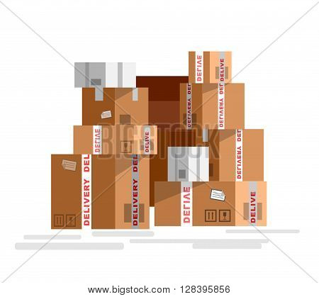 VectorPile of stacked sealed goods cardboard boxes. Detailed mail box isolated on white background.