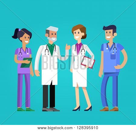 Vector detailed doctor character man, woman and nurse. Medical team
