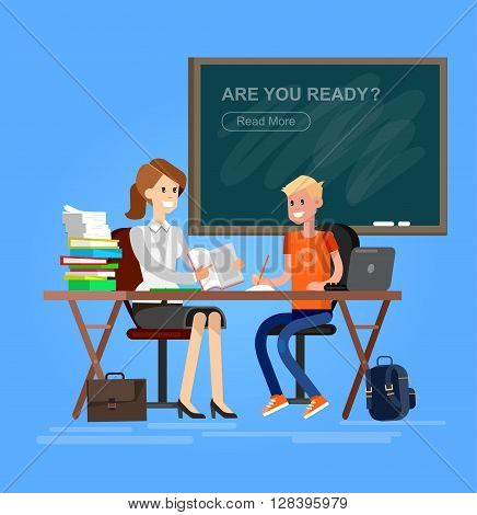 Woman teacher tutor tutoring boy kid at home. Mother helping son with homework. Flat style vector illustration isolated on white background.