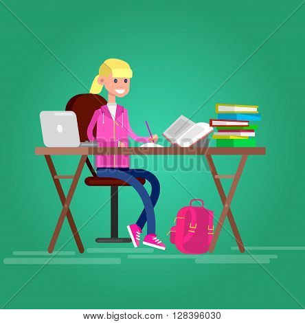 child girl studying in classroom with homework. Flat style vector illustration isolated on white background.