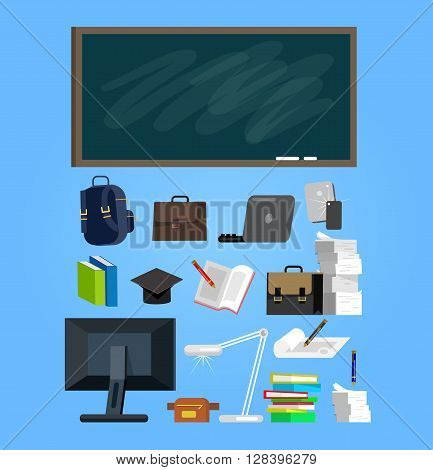 Vector detailed objects for education. Flat style vector illustration background.