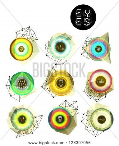 Eyes collection. Human pupil. Creative label and bubbles. low poly illustration