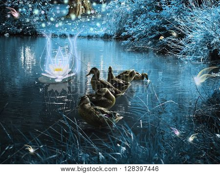 Ducks in a magical and dark woods with fabulous creatures