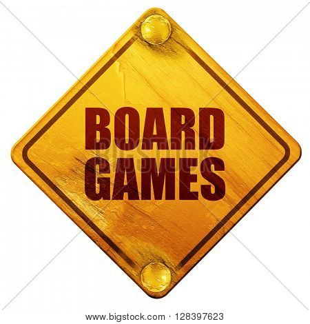 board games, 3D rendering, isolated grunge yellow road sign