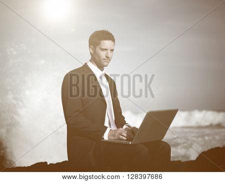 Businessman Alone Beach Working Laptop Computer Concept