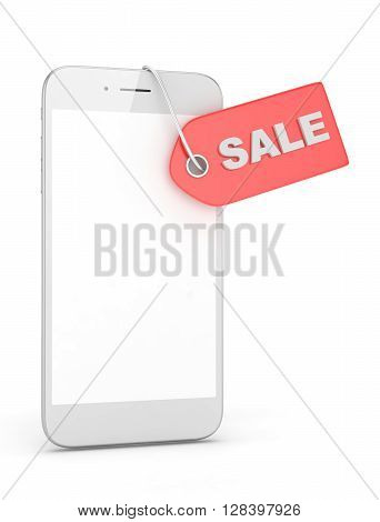White smart phone with red price tag on white background. Identification, price, label. 3D rendering.