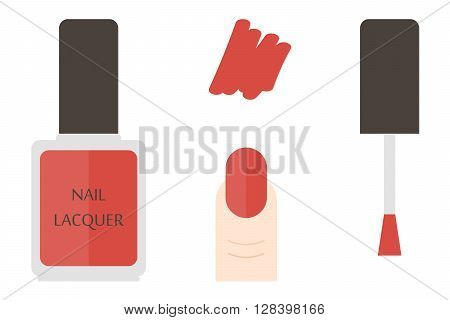 Red nail lacquer bottle and swatches, details. Vector flat design illustration.