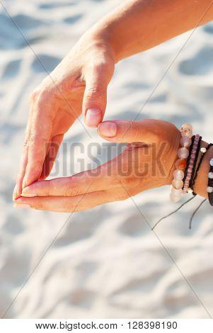 Hippie Human Woman Hand Form Heart Sand Beach