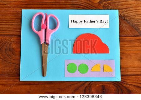 Set for greeting card father's day. Happy father's day. Paper sheets, scissors. How to make a card father's day