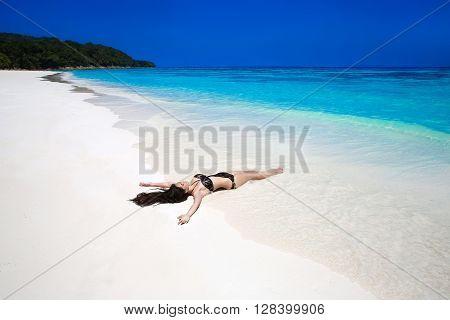 Free Beautiful Woman Enjoying Tropical Beach Nature. Wellness. Brunette Girl Model Open Arms. Summer