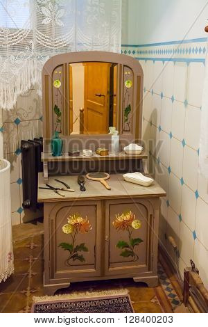Riga Latvia 26 August 2015: Authentic interior in apartment of Latvian architect Konstantins Pekshens in Art Nouveau Museum located at Alberta Street 12 in Riga Latvia.