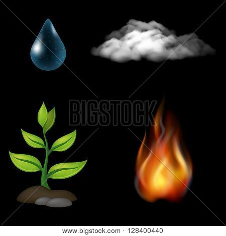 Set of Natural Elements of Water, Fire, Earth and Air. Composition of Four Icons on Black Background. Eps10, Contains Transparencies. Vector