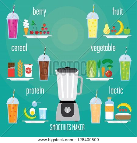 Modern blender with a smoothie of different kinds. There are fruit vegetable grain protein berry and chocolate smoothie for all the healthy Breakfast.