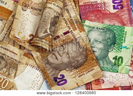 Twent Fifty And Ten Rand Brown Red And Green Bills