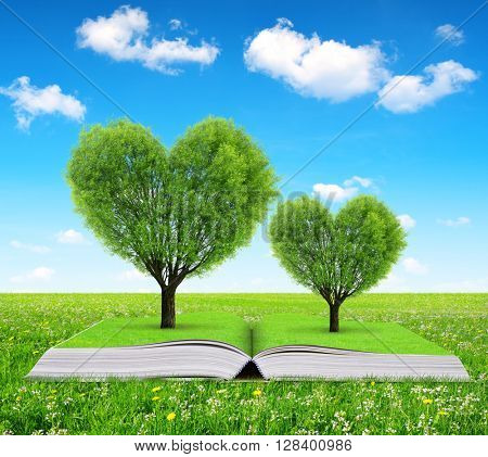 Book with a trees in the shape of heart on meadow.