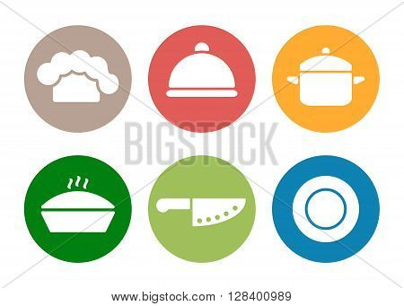 Vector kitchen, restaurant and culinary icons. Chef cap, cloche, pan, knife and plate