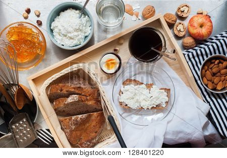 Healthy Breakfast Coffee Egg Bread Cottage Cheese
