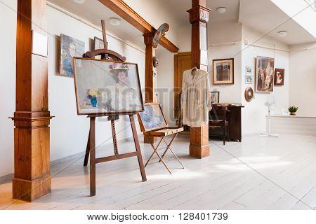 Riga Latvia 26 August 2015: Artistic studio of latvian artist Janis Rozentals in museum of Art Nouveau style located at Alberta Street 12 in Riga Latvia.