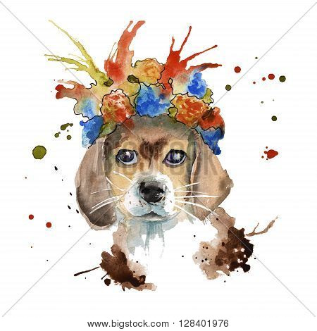 the dog's muzzle with ears in headdress made in the form of a wreath of flowers. isolated. Watercolor