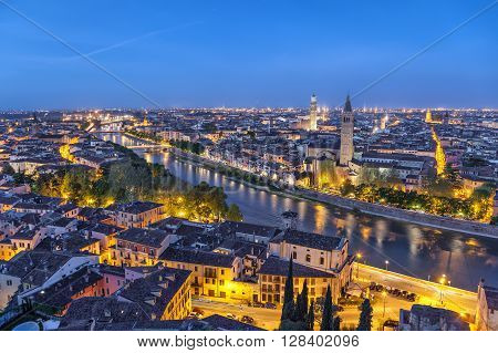 Aerial view on Verona and Adige river in the morning Italy