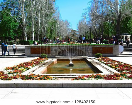 Madrid Spain April 9th 2016. People enjoying springtime in Retiro Park Madrid. Madrid Spain April 9th 2016