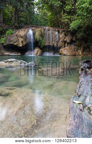 Waterfall Erawan With Rock