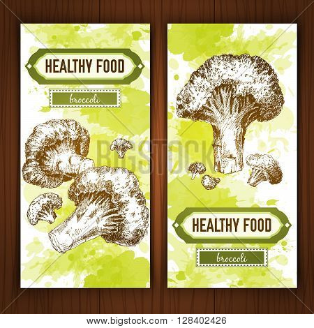 Banners with graphic broccoli. Hand drawn graphic illustration on watercolor background