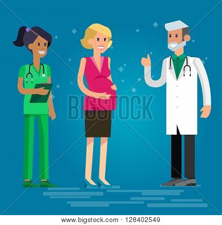 Vector detailed character happy pregnant woman having a doctor visit in hospital. Gynecologist men and smiling nurse  indicates that everything is OK. Cool flat  illustration