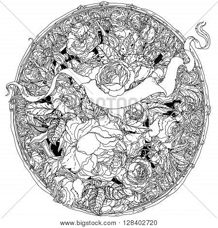 Uncolored, colouring book style luxury roses in zenart style, heraldic cartouche for text in famous zenart style Adult coloring book Hand-drawn, doodle, vector for design, wedding cards, coloring book