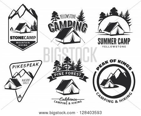 Set of vintage camping and outdoor adventure emblems logo and badges. Tent in forest or mountains. Camping equipment. Vector.