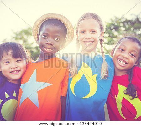 Children Friendship Bonding Outdoors Cheerful Concept