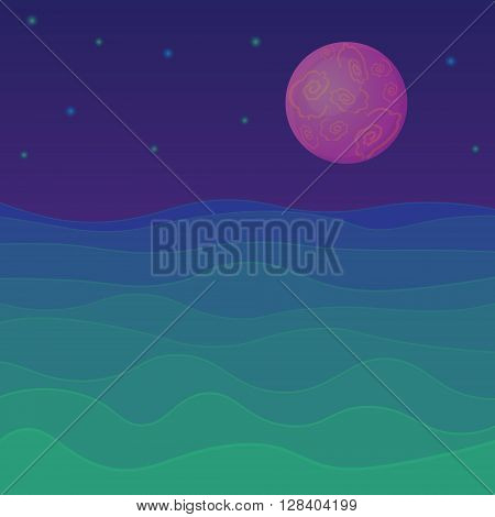 Vector fantastic background in navy blue green purple. Rising planet or satellite stars in the sky. Futuristic design for cards websites