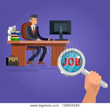 Job search and human resources. Vector flat illustration character