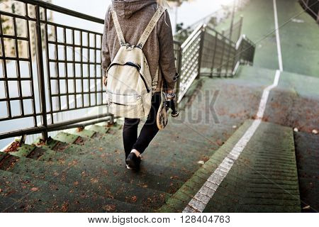 Young Woman Skater Walking Active Concept