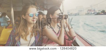 Girls Friendship Hangout Traveling Holiday Photography Concept