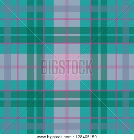 Vector seamless scottish tartan pattern in blue turquoise green pink. British or irish celtic baby design for textile fabric or for wrapping backgrounds websites