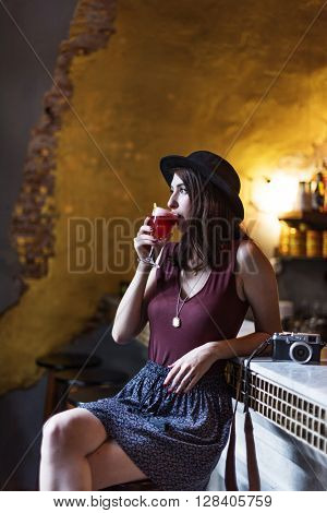 Woman Drinking Juice Relaxation Concept