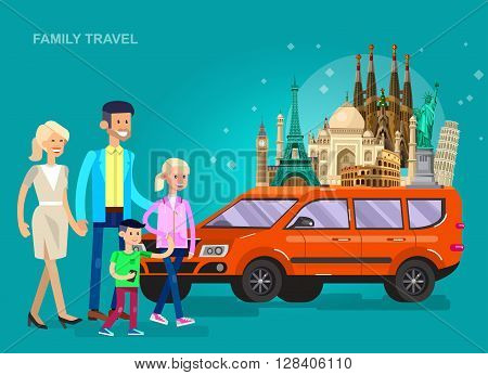 High quality, detailed most famous World landmarks Statue of Liberty, Taj Mahal, Eiffel Tower, Leaning Tower, Big Ben, Colosseum, Cathedral Sagrada Familia. Characters family travel by car