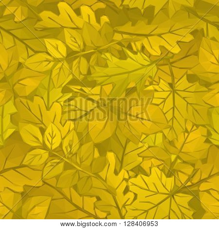 Autumn Nature Background with yellow Leaves of Plants, Polygonal Low Poly Design. Vector