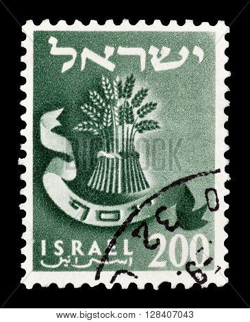 ISRAEL - CIRCA 1956 : Cancelled postage stamp printed by Israel, that shows Sheaf of wheat.