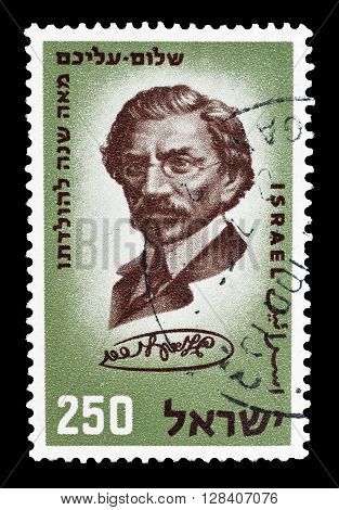 ISRAEL - CIRCA 1959 : Cancelled postage stamp printed by Israel, that shows Shalom Aleichem.