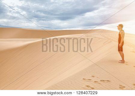 Famous White sand dunes in Mui Ne Vietnam