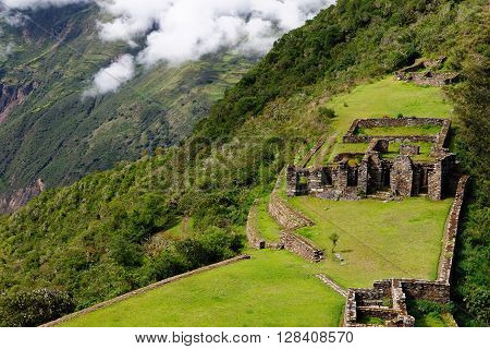 South America - Choquequirao lost ruins (mini - Machu Picchu) remote spectacular the Inca ruins near Cuzco
