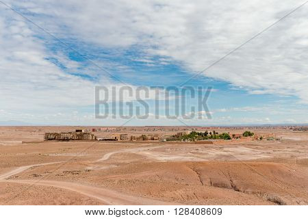 OUARZAZATE MOROCCO - OCTOBER 23 2015: Distant view of the Atlas Film Studios in Ouarzazate Morocco.