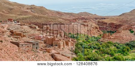 Panoramic view of a village in the Asif Ounila valley near Kasbah Telouet in Morocco.