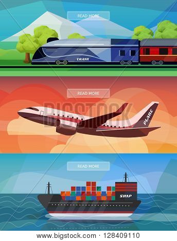 Set of logistics routes banners. Banners with train plane and ship. Low polygon vector illustrations for logistics use.