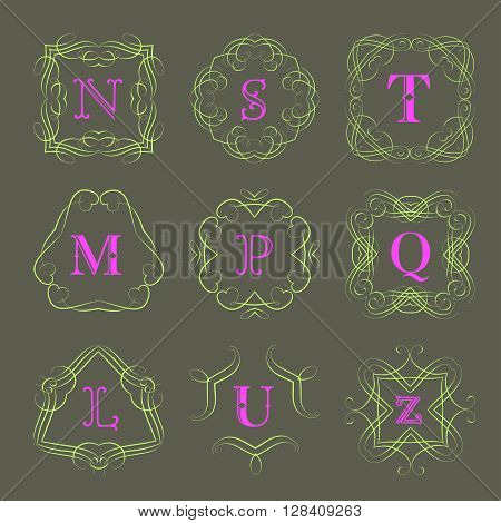 Monogram logo template with  calligraphic elegant ornament. Identity design with letter S, T, M, P, Q, L, U, Z for shop, store or restaurant, heraldic, barbershop or barber, beauty salon, justic lawyer, boutique or hotel